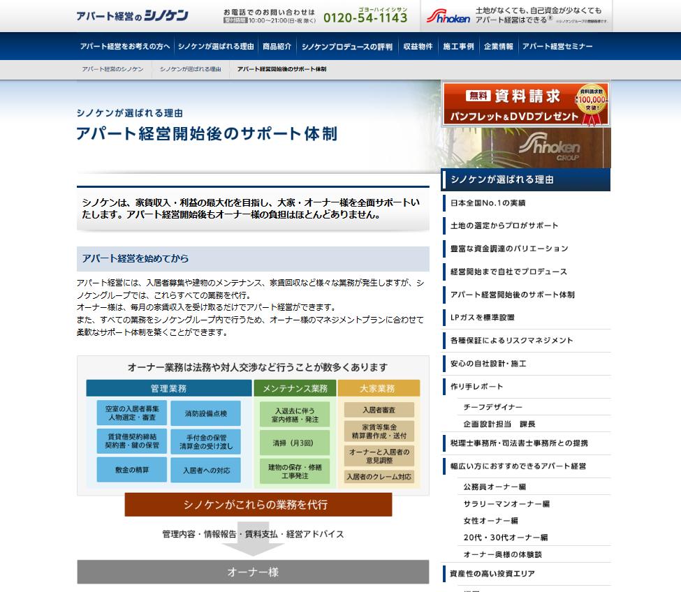 シノケンプロデュースの充実したサポート体制
