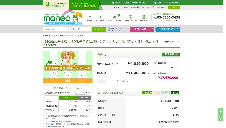 maneo【不動産担保付き】1,100億円突破記念ローンファンド