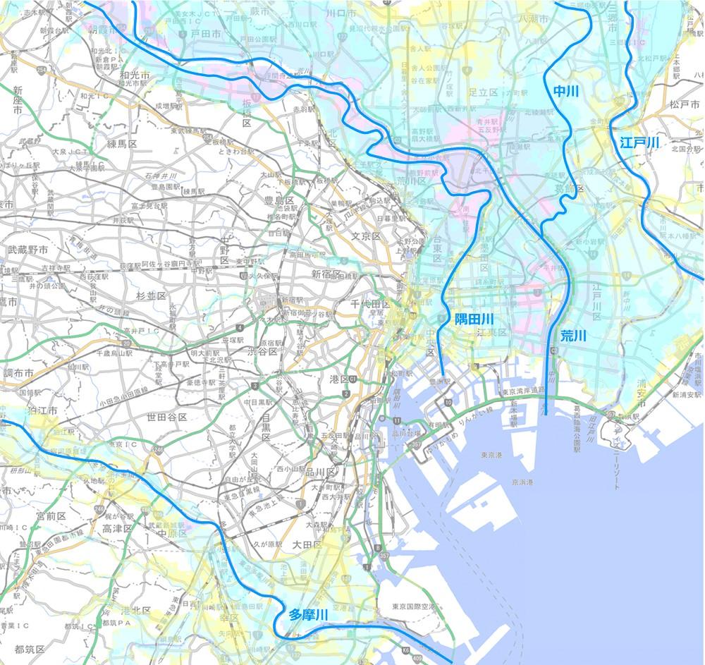 東京23区洪水浸水想定区域