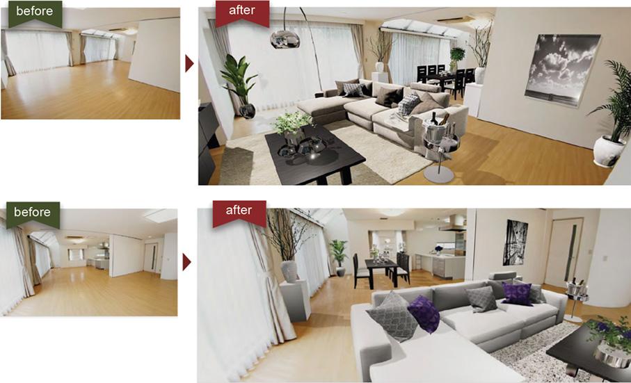 360度カメラで撮影した室内写真に、CG家具・小物をバーチャルコーディネートして物件をより魅力的に演出
